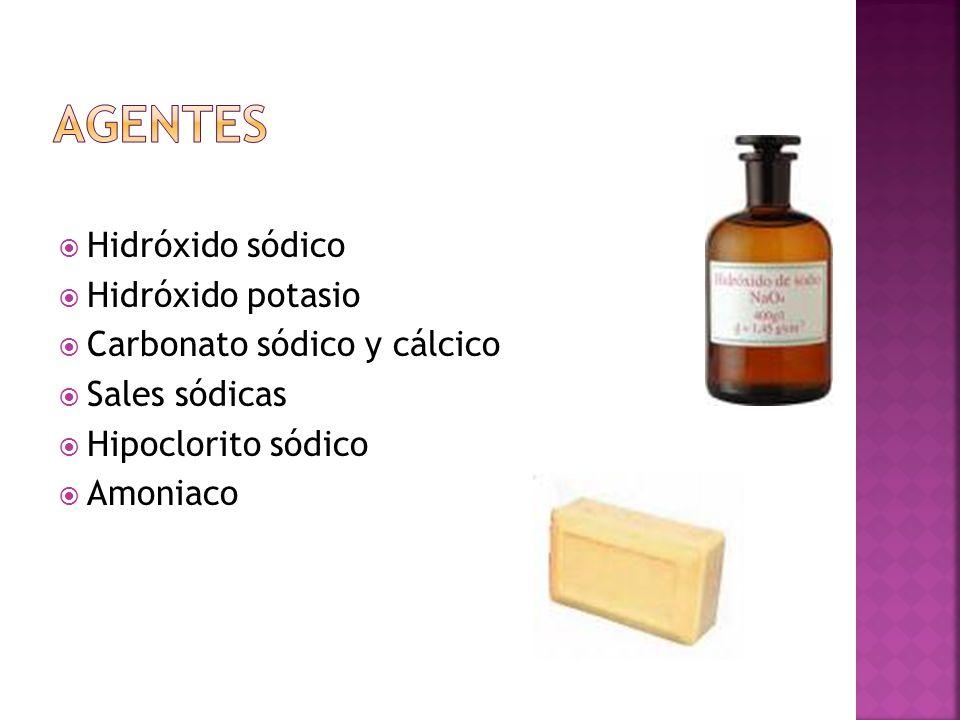 Hidróxido sódico Hidróxido potasio Carbonato sódico y cálcico Sales sódicas Hipoclorito sódico Amoniaco