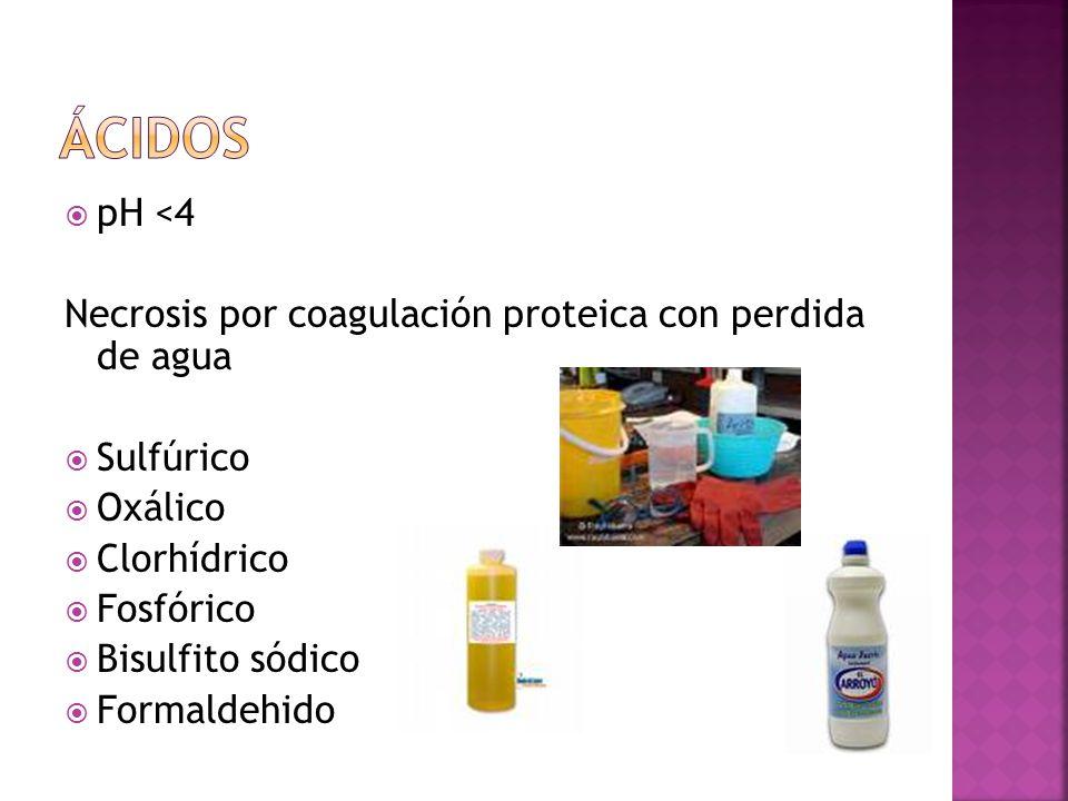 pH <4 Necrosis por coagulación proteica con perdida de agua Sulfúrico Oxálico Clorhídrico Fosfórico Bisulfito sódico Formaldehido