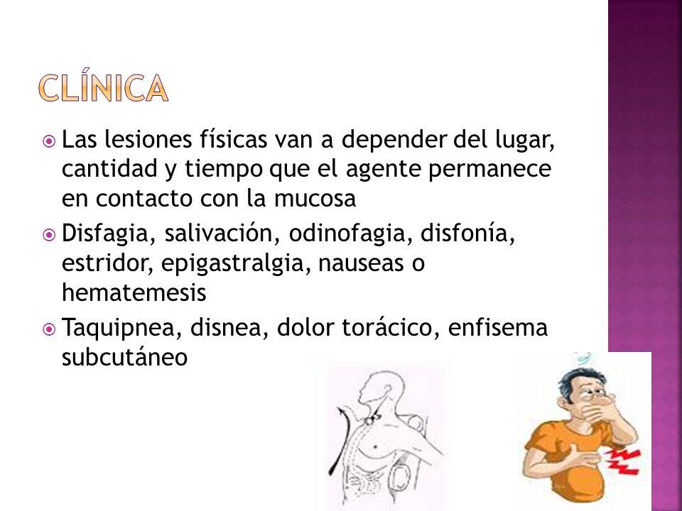 Las lesiones físicas van a depender del lugar, cantidad y tiempo que el agente permanece en contacto con la mucosa Disfagia, salivación, odinofagia, d