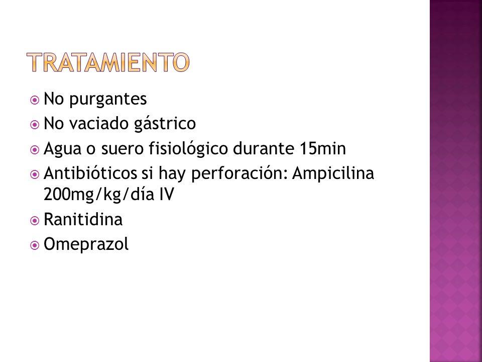No purgantes No vaciado gástrico Agua o suero fisiológico durante 15min Antibióticos si hay perforación: Ampicilina 200mg/kg/día IV Ranitidina Omepraz