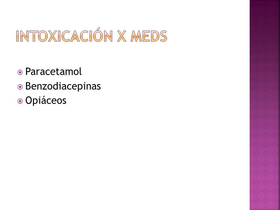 Paracetamol Benzodiacepinas Opiáceos