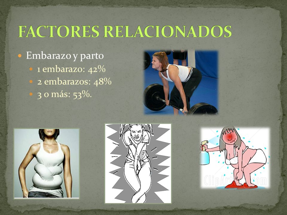 Embarazo y parto 1 embarazo: 42% 2 embarazos: 48% 3 o más: 53%.