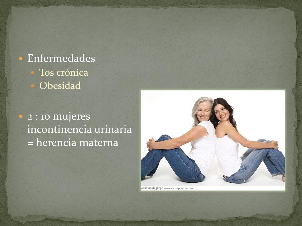 Enfermedades Tos crónica Obesidad 2 : 10 mujeres incontinencia urinaria = herencia materna