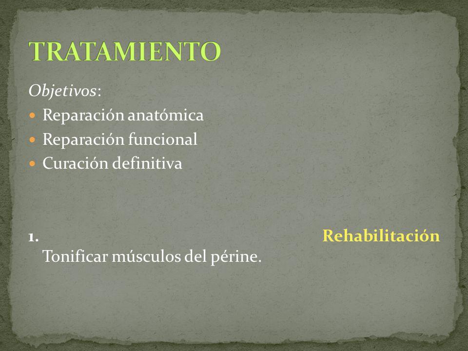 Objetivos: Reparación anatómica Reparación funcional Curación definitiva 1. Rehabilitación Tonificar músculos del périne.