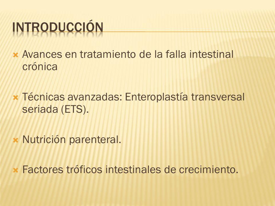 Avances en tratamiento de la falla intestinal crónica Técnicas avanzadas: Enteroplastía transversal seriada (ETS).