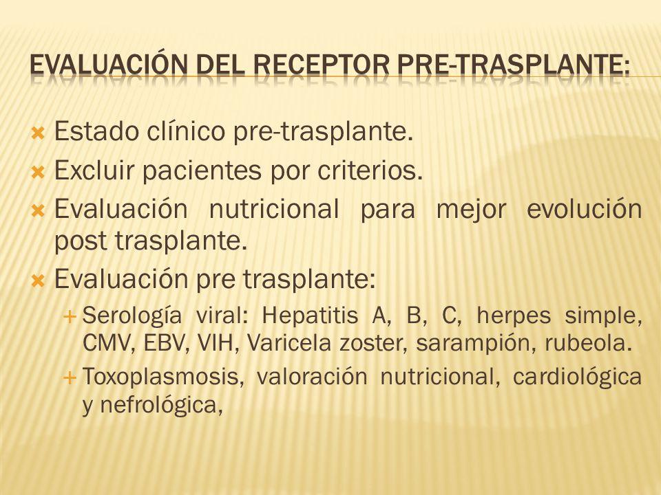 Estado clínico pre-trasplante. Excluir pacientes por criterios.