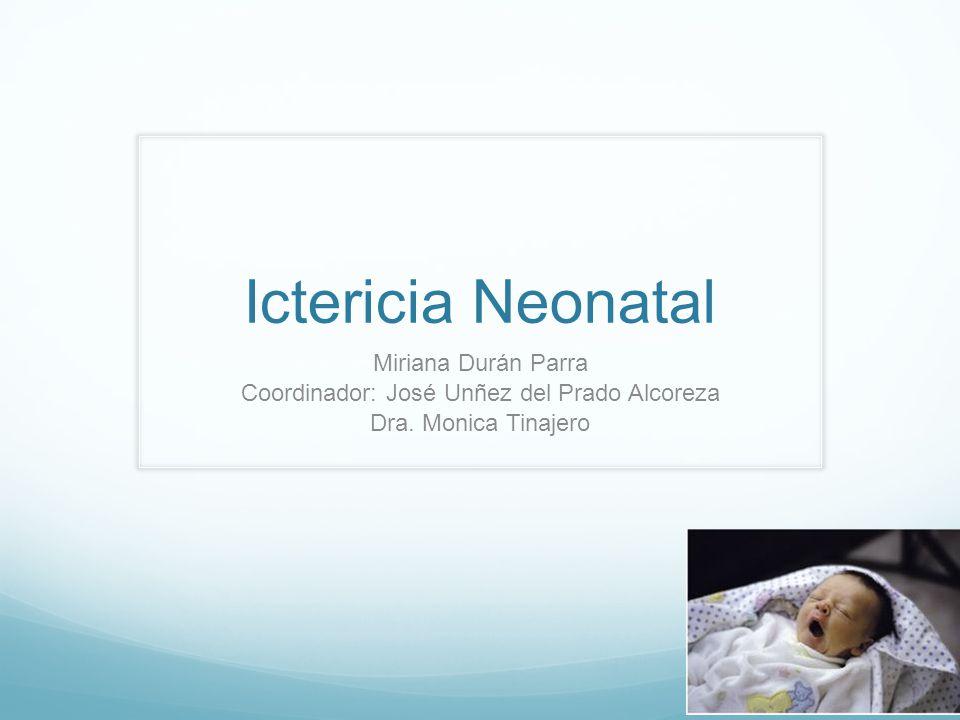 Ictericia Neonatal Miriana Durán Parra Coordinador: José Unñez del Prado Alcoreza Dra. Monica Tinajero