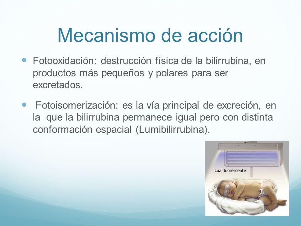 Mecanismo de acción Fotooxidación: destrucción física de la bilirrubina, en productos más pequeños y polares para ser excretados. Fotoisomerización: e