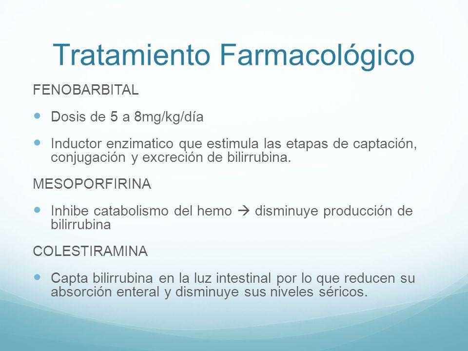 Tratamiento Farmacológico FENOBARBITAL Dosis de 5 a 8mg/kg/día Inductor enzimatico que estimula las etapas de captación, conjugación y excreción de bi