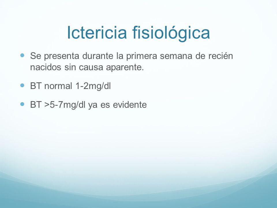 Ictericia fisiológica Se presenta durante la primera semana de recién nacidos sin causa aparente. BT normal 1-2mg/dl BT >5-7mg/dl ya es evidente