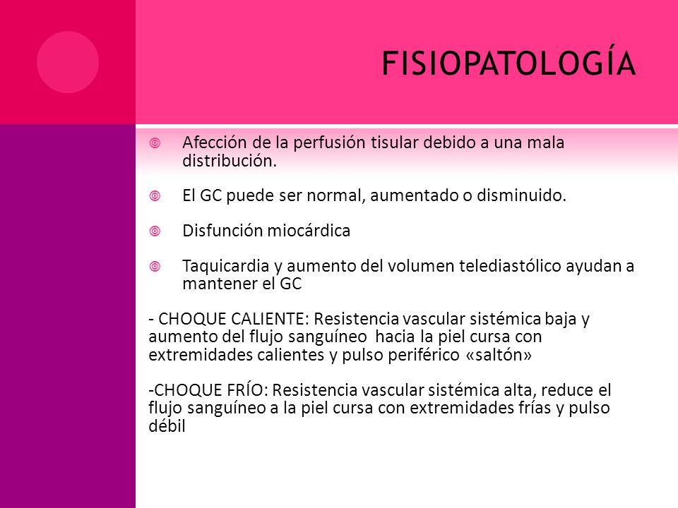 FISIOPATOLOGÍA Afección de la perfusión tisular debido a una mala distribución. El GC puede ser normal, aumentado o disminuido. Disfunción miocárdica