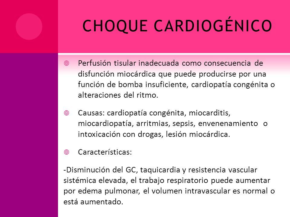 CHOQUE CARDIOGÉNICO Perfusión tisular inadecuada como consecuencia de disfunción miocárdica que puede producirse por una función de bomba insuficiente