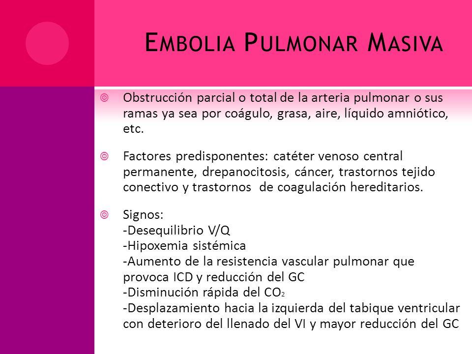 E MBOLIA P ULMONAR M ASIVA Obstrucción parcial o total de la arteria pulmonar o sus ramas ya sea por coágulo, grasa, aire, líquido amniótico, etc. Fac