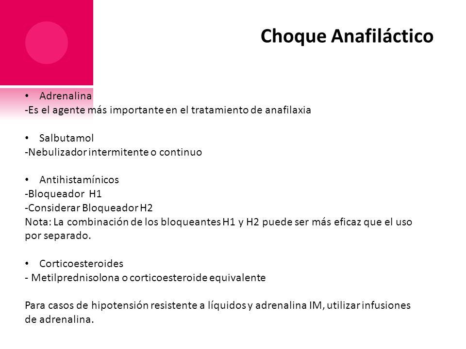 Choque Anafiláctico Adrenalina -Es el agente más importante en el tratamiento de anafilaxia Salbutamol -Nebulizador intermitente o continuo Antihistam