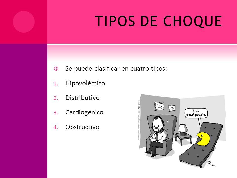 TIPOS DE CHOQUE Se puede clasificar en cuatro tipos: 1. Hipovolémico 2. Distributivo 3. Cardiogénico 4. Obstructivo