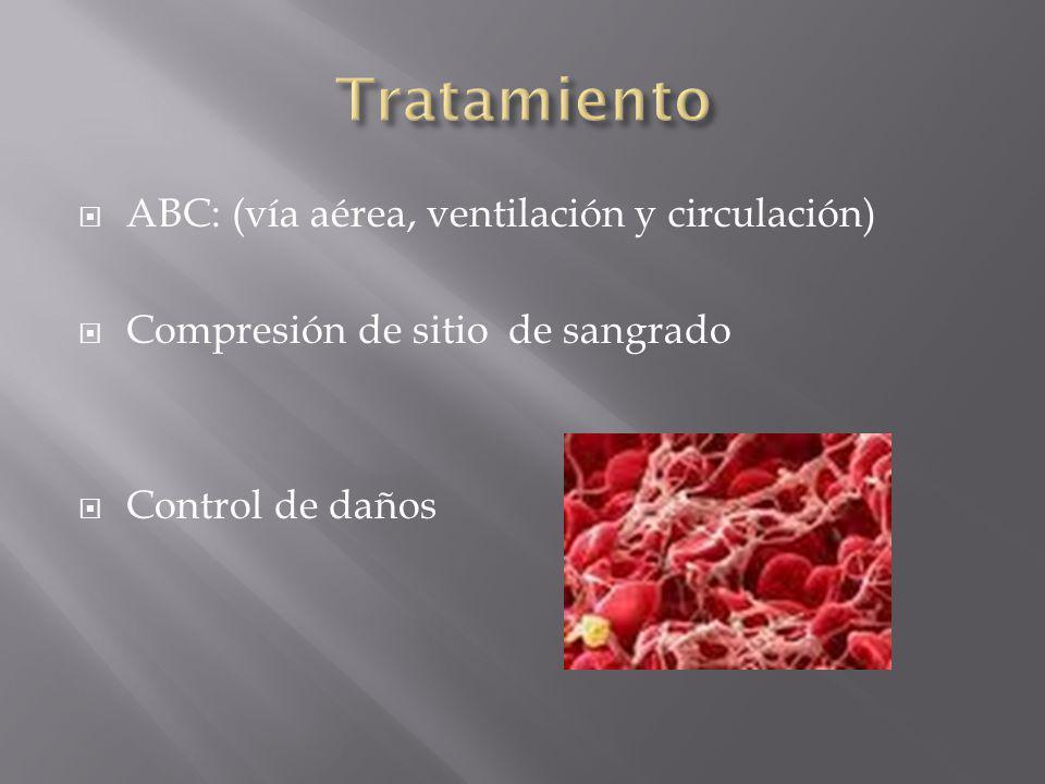 ABC: (vía aérea, ventilación y circulación) Compresión de sitio de sangrado Control de daños
