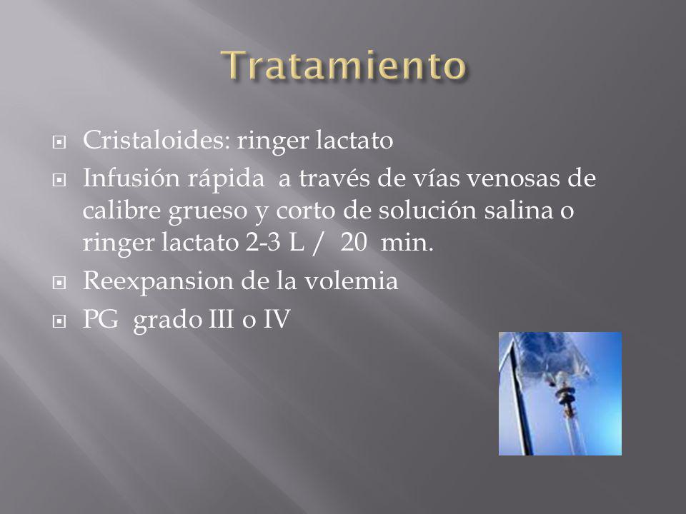 Cristaloides: ringer lactato Infusión rápida a través de vías venosas de calibre grueso y corto de solución salina o ringer lactato 2-3 L / 20 min. Re