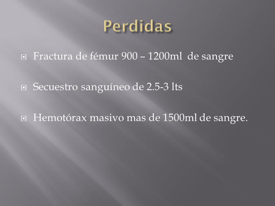 Fractura de fémur 900 – 1200ml de sangre Secuestro sanguíneo de 2.5-3 lts Hemotórax masivo mas de 1500ml de sangre.