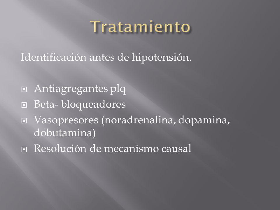 Identificación antes de hipotensión. Antiagregantes plq Beta- bloqueadores Vasopresores (noradrenalina, dopamina, dobutamina) Resolución de mecanismo