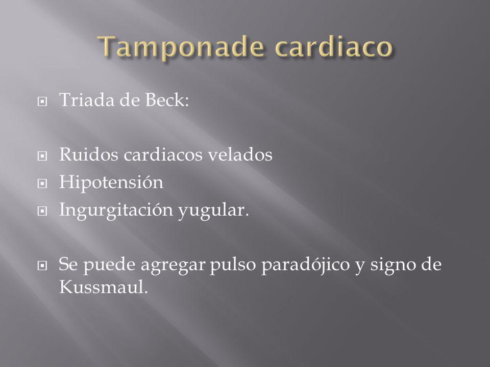 Triada de Beck: Ruidos cardiacos velados Hipotensión Ingurgitación yugular. Se puede agregar pulso paradójico y signo de Kussmaul.