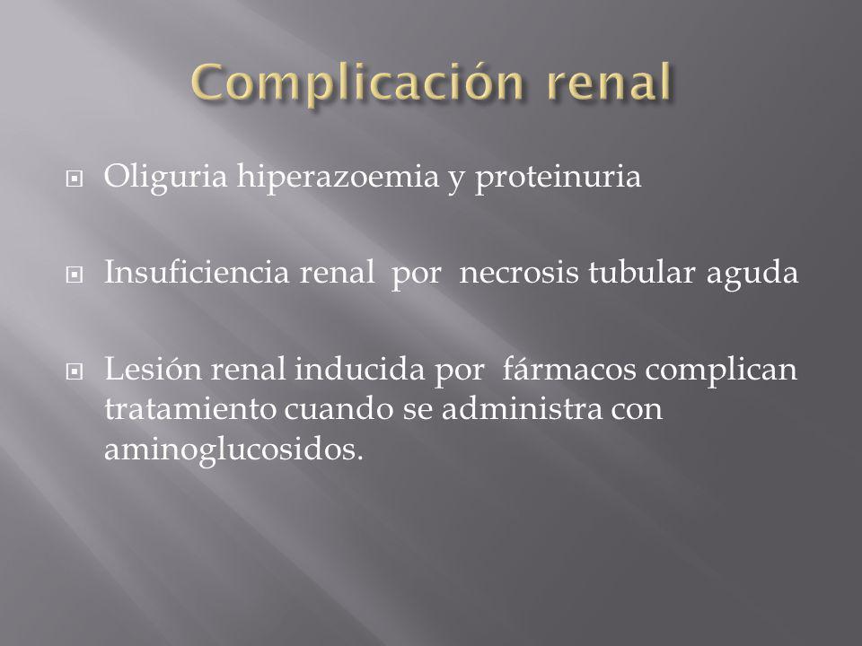 Oliguria hiperazoemia y proteinuria Insuficiencia renal por necrosis tubular aguda Lesión renal inducida por fármacos complican tratamiento cuando se
