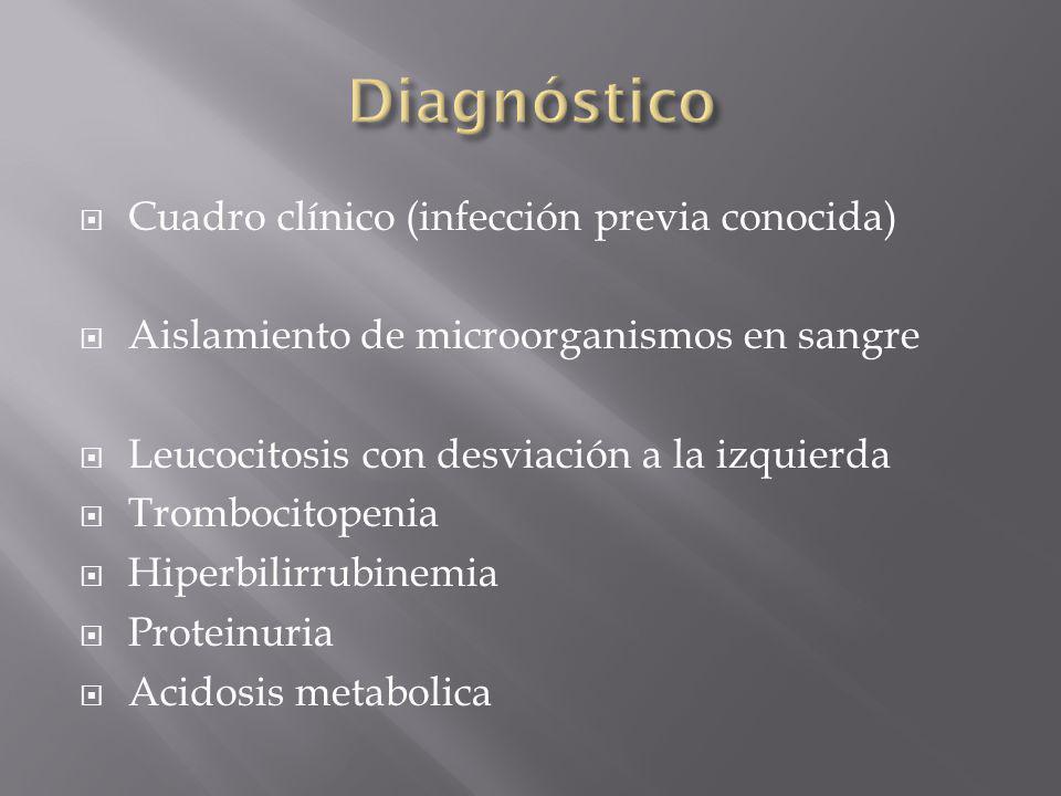 Cuadro clínico (infección previa conocida) Aislamiento de microorganismos en sangre Leucocitosis con desviación a la izquierda Trombocitopenia Hiperbi