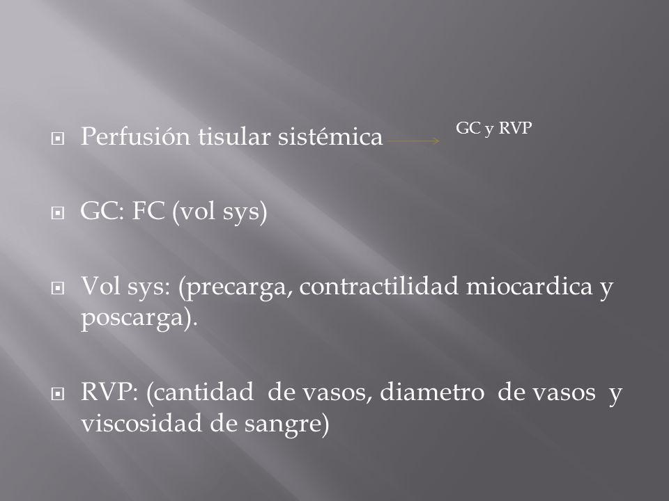 Perfusión tisular sistémica GC: FC (vol sys) Vol sys: (precarga, contractilidad miocardica y poscarga). RVP: (cantidad de vasos, diametro de vasos y v