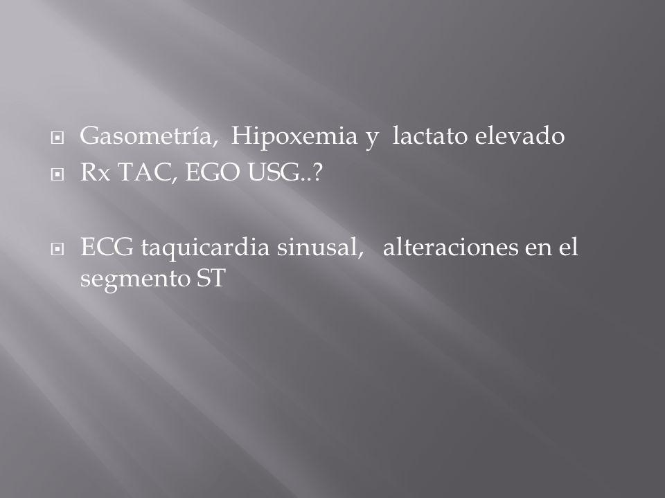 Gasometría, Hipoxemia y lactato elevado Rx TAC, EGO USG..? ECG taquicardia sinusal, alteraciones en el segmento ST