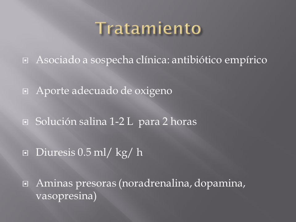Asociado a sospecha clínica: antibiótico empírico Aporte adecuado de oxigeno Solución salina 1-2 L para 2 horas Diuresis 0.5 ml/ kg/ h Aminas presoras