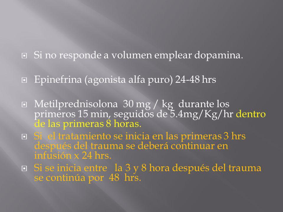 Si no responde a volumen emplear dopamina. Epinefrina (agonista alfa puro) 24-48 hrs Metilprednisolona 30 mg / kg durante los primeros 15 min, seguido