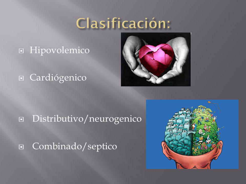Hipovolemico Cardiógenico Distributivo/neurogenico Combinado/septico