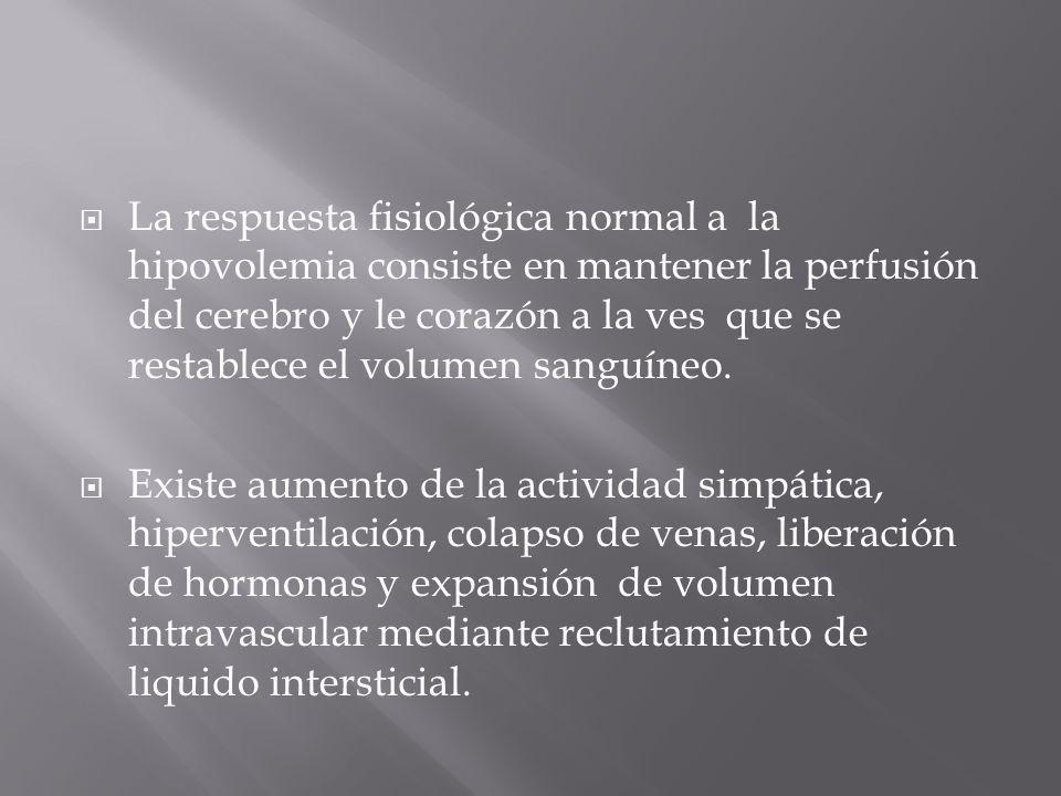 La respuesta fisiológica normal a la hipovolemia consiste en mantener la perfusión del cerebro y le corazón a la ves que se restablece el volumen sang