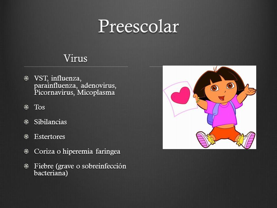 Preescolar Virus VST, influenza, parainfluenza, adenovirus, Picornavirus, Micoplasma TosSibilanciasEstertores Coriza o hiperemia faringea Fiebre (grav
