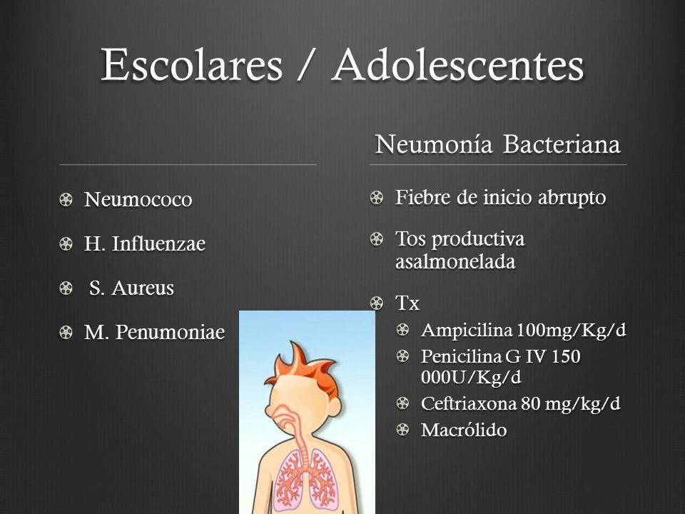 Escolares / Adolescentes Neumococo H. Influenzae S. Aureus S. Aureus M. Penumoniae Neumonía Bacteriana Fiebre de inicio abrupto Tos productiva asalmon