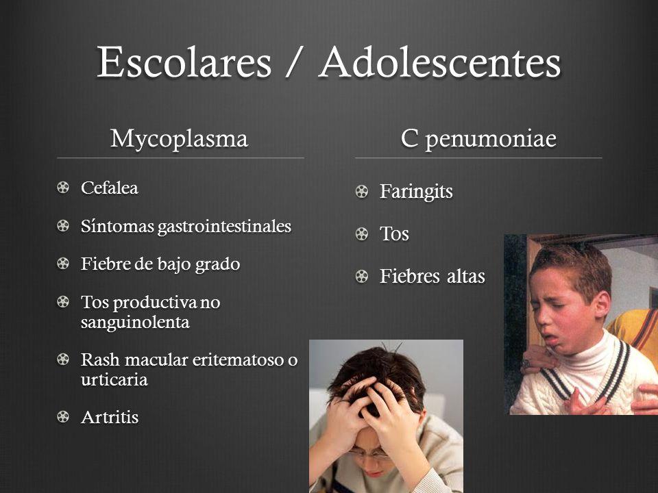 Escolares / Adolescentes Mycoplasma Cefalea Síntomas gastrointestinales Fiebre de bajo grado Tos productiva no sanguinolenta Rash macular eritematoso
