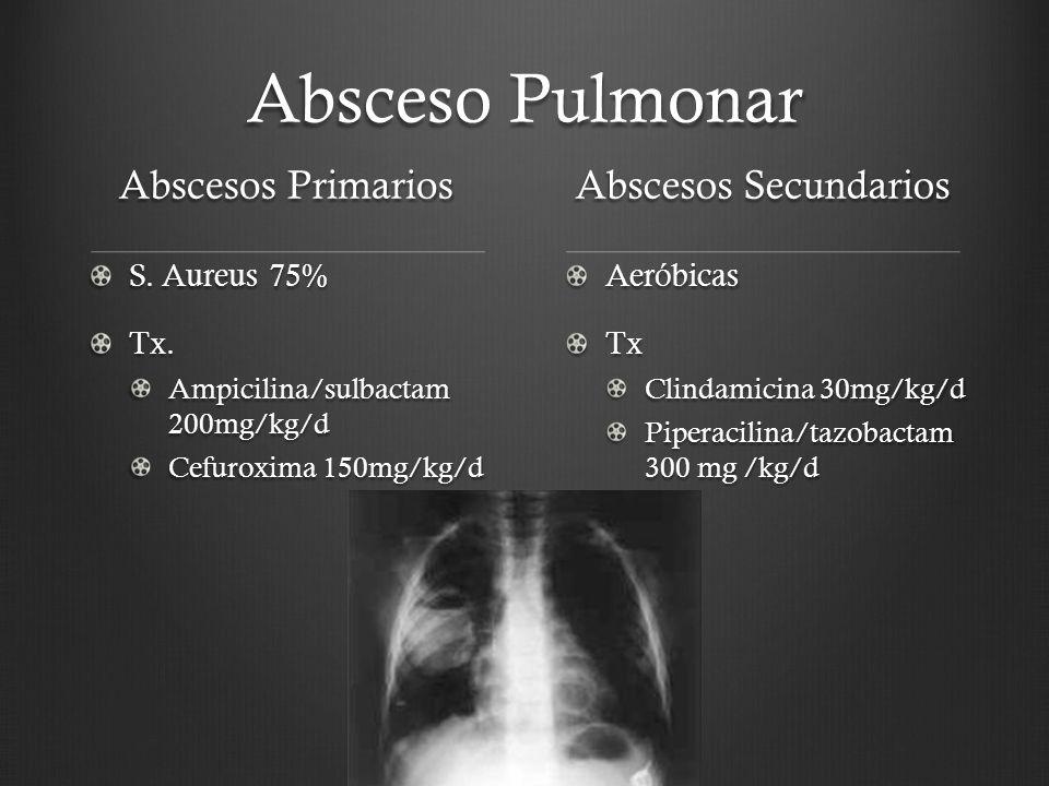 Absceso Pulmonar Abscesos Primarios S. Aureus 75% Tx. Ampicilina/sulbactam 200mg/kg/d Cefuroxima 150mg/kg/d Abscesos Secundarios AeróbicasTx Clindamic