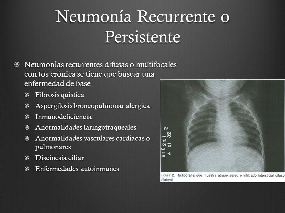 Neumonía Recurrente o Persistente Neumonías recurrentes difusas o multifocales con tos crónica se tiene que buscar una enfermedad de base Fibrosis qui