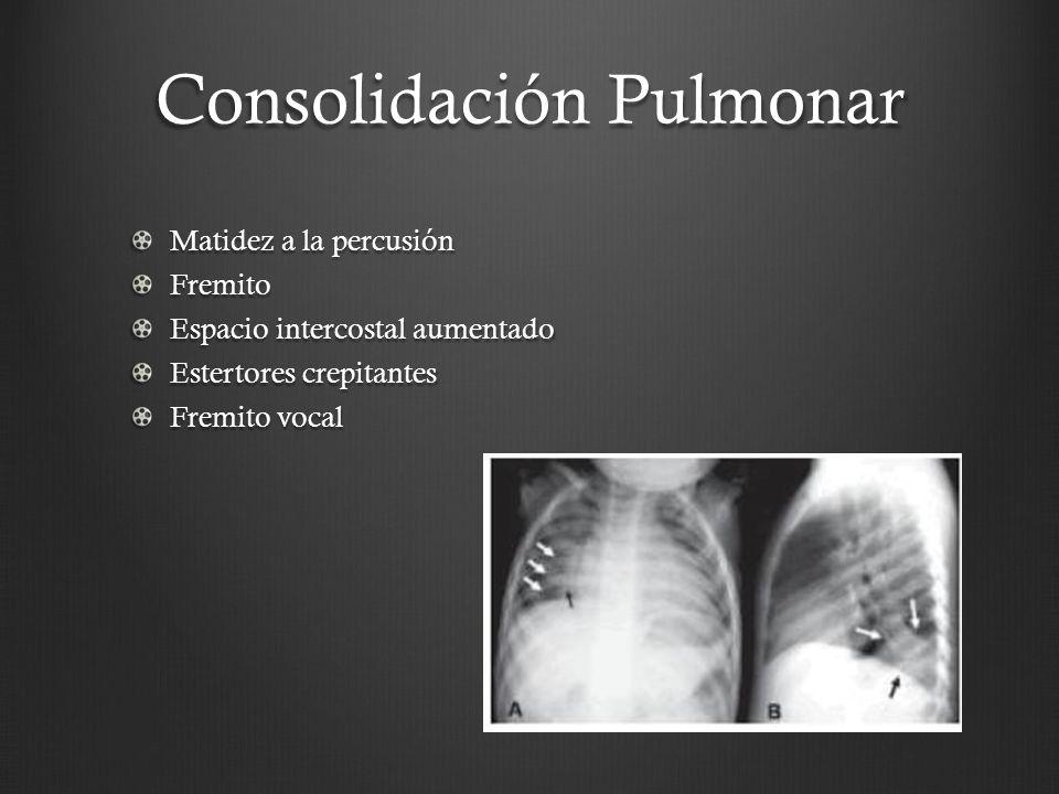 Consolidación Pulmonar Matidez a la percusión Fremito Espacio intercostal aumentado Estertores crepitantes Fremito vocal