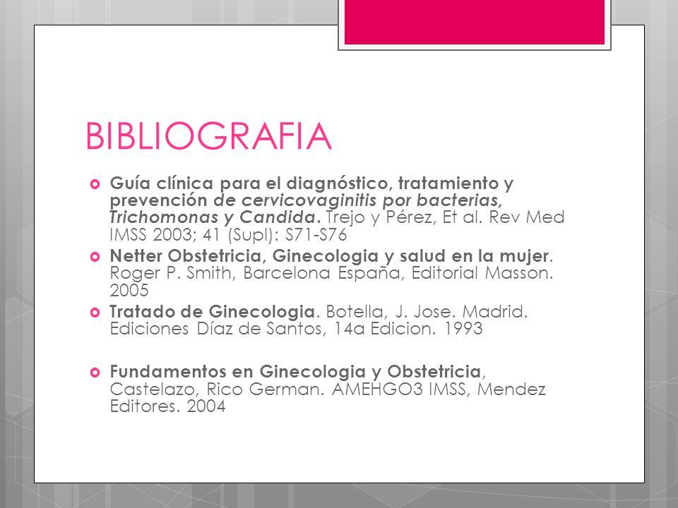 BIBLIOGRAFIA Guía clínica para el diagnóstico, tratamiento y prevención de cervicovaginitis por bacterias, Trichomonas y Candida. Trejo y Pérez, Et al