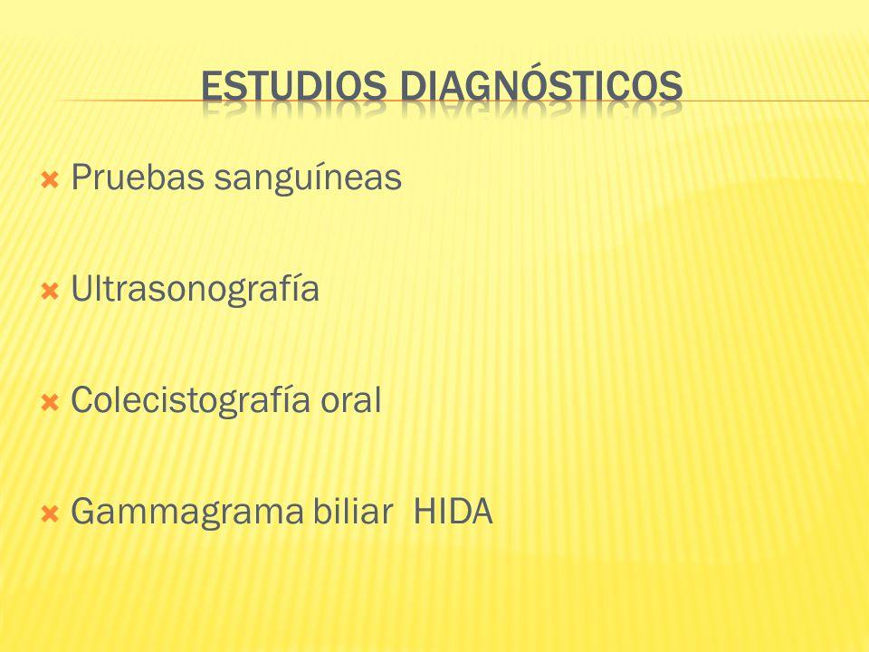 Pruebas sanguíneas Ultrasonografía Colecistografía oral Gammagrama biliar HIDA