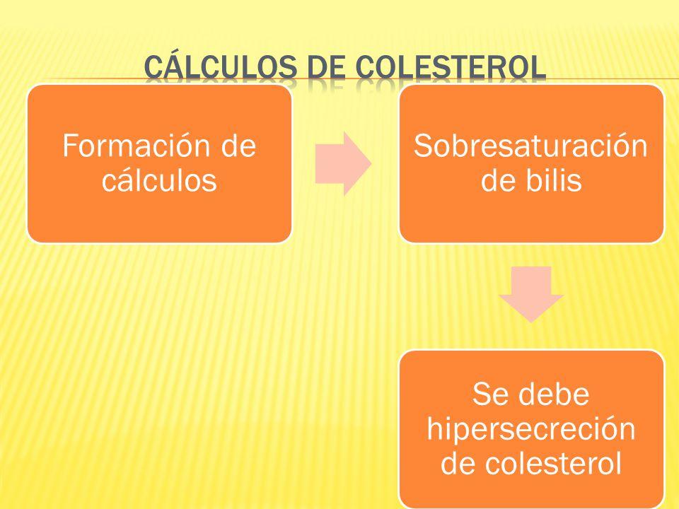 Formación de cálculos Sobresaturación de bilis Se debe hipersecreción de colesterol