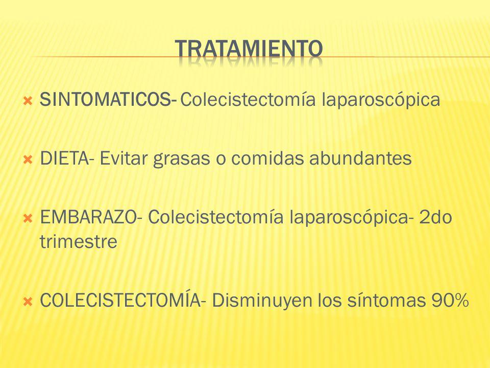 SINTOMATICOS- Colecistectomía laparoscópica DIETA- Evitar grasas o comidas abundantes EMBARAZO- Colecistectomía laparoscópica- 2do trimestre COLECISTE