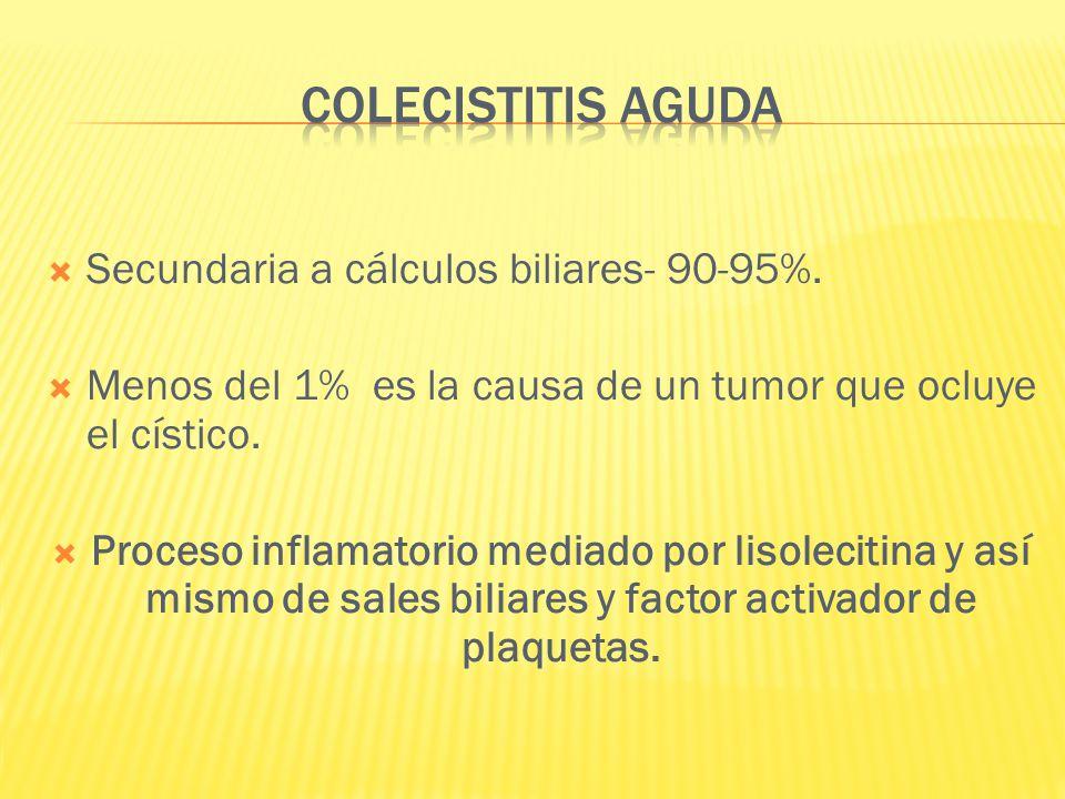 Secundaria a cálculos biliares- 90-95%. Menos del 1% es la causa de un tumor que ocluye el cístico. Proceso inflamatorio mediado por lisolecitina y as