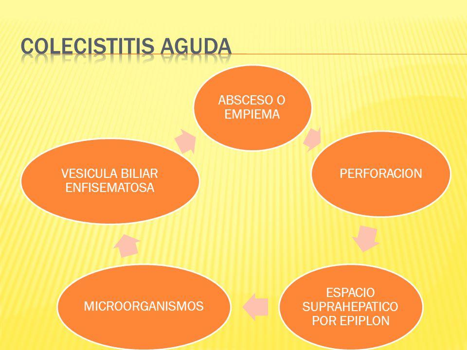 ABSCESO O EMPIEMA PERFORACION ESPACIO SUPRAHEPATICO POR EPIPLON MICROORGANISMOS VESICULA BILIAR ENFISEMATOSA