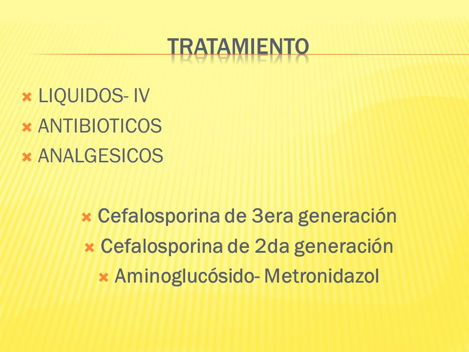 LIQUIDOS- IV ANTIBIOTICOS ANALGESICOS Cefalosporina de 3era generación Cefalosporina de 2da generación Aminoglucósido- Metronidazol