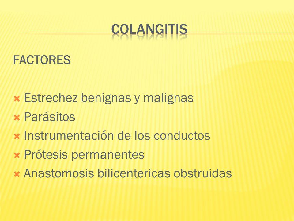 FACTORES Estrechez benignas y malignas Parásitos Instrumentación de los conductos Prótesis permanentes Anastomosis bilicentericas obstruidas