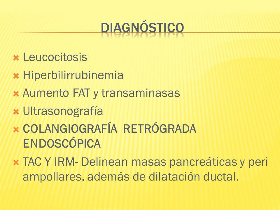 Leucocitosis Hiperbilirrubinemia Aumento FAT y transaminasas Ultrasonografía COLANGIOGRAFÍA RETRÓGRADA ENDOSCÓPICA TAC Y IRM- Delinean masas pancreáti