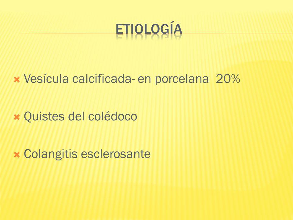 Vesícula calcificada- en porcelana 20% Quistes del colédoco Colangitis esclerosante
