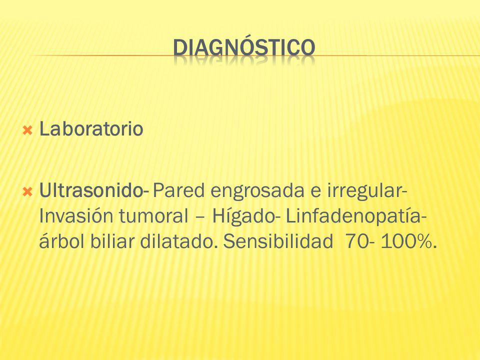 Laboratorio Ultrasonido- Pared engrosada e irregular- Invasión tumoral – Hígado- Linfadenopatía- árbol biliar dilatado. Sensibilidad 70- 100%.