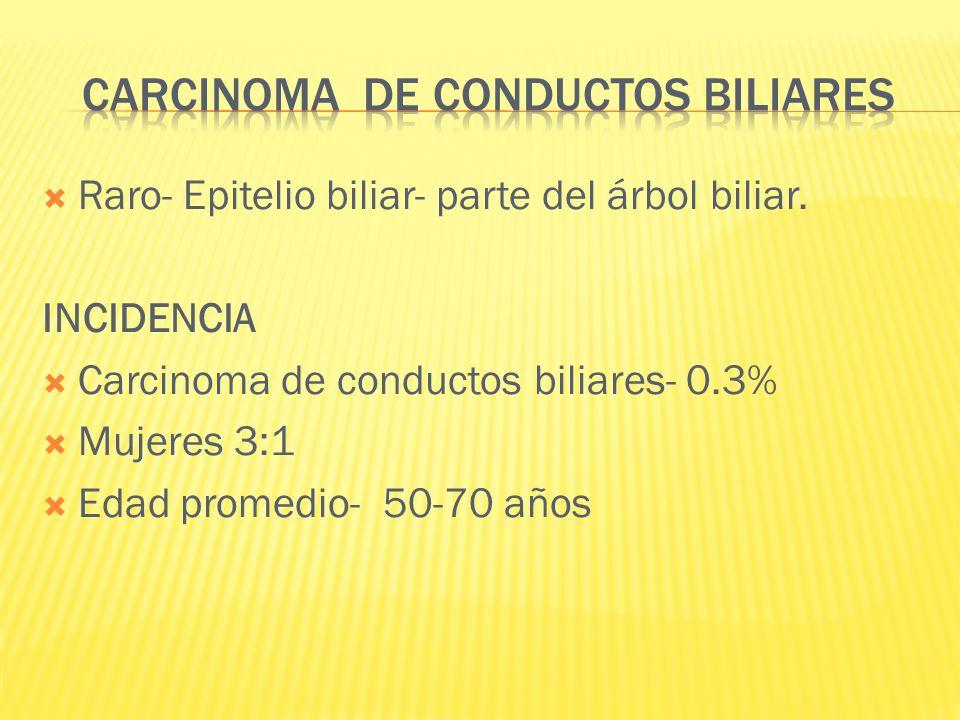 Raro- Epitelio biliar- parte del árbol biliar. INCIDENCIA Carcinoma de conductos biliares- 0.3% Mujeres 3:1 Edad promedio- 50-70 años